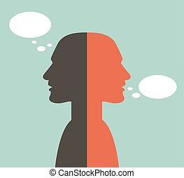 paramontato, concept., due, head., pensare, discorso