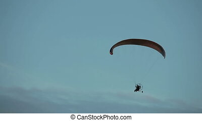 Paramotor flying in the air