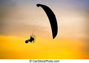 paramotor, voando, silueta