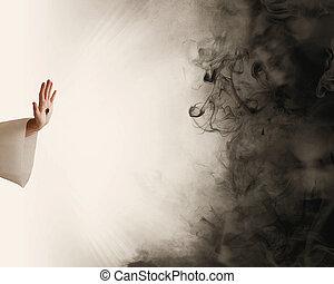 parando, mão, escuridão, jesus