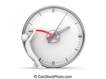 parando, mãos, tempo, relógio parada