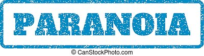 Paranoia Rubber Stamp - Blue rubber seal stamp with Paranoia...