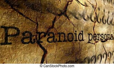 Paranoid disorder grunge concept