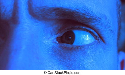 Paranoid eye. Blue tint. - Paranoid eye looking right, left...