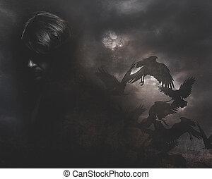 paranormal, hombre, con, pelo largo, y, abrigo negro