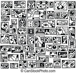 paranormal things, secret, crime - doodles set