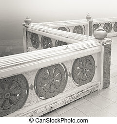 Ornamental parapet of the balcony in Tiger Temple, province Krabi, Thailand