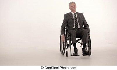 paraplégique, homme affaires, coup, wheelchair., studio