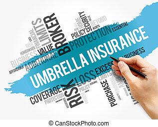 paraplu, collage, woord, wolk, verzekering