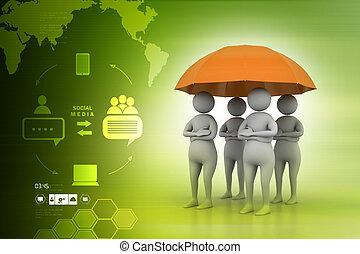 paraplu, concept, mensen, het werkteam, onder, rood, 3d