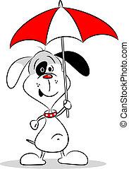 paraplu, dog, spotprent