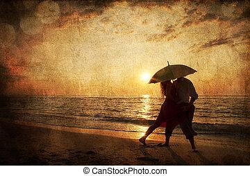 paraplu, foto, paar, beeld, onder, oud, sunset., strand, style., kussende