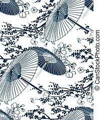 paraplu, model, japanner, illustratie, traditionele , vector, sakura