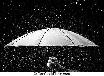 paraplu, onder, regendruppels, in, zwart wit