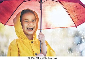 paraplu, rood, kind