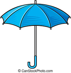 paraplu, umbrella), open, (blue