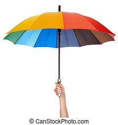 paraplu, vrijstaand, vasthouden, veelkleurig