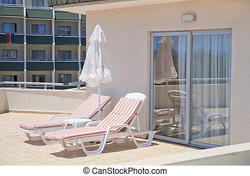 parapluie, appartements, hôtel, luxe, salons, chaise, balcon