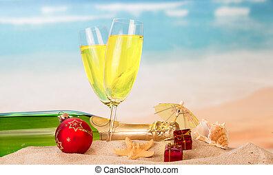 parapluie, balle, bouteille, seashell, deux, etoile mer, champagne, arrière-plan., sable, dons, mer, noël, lunettes