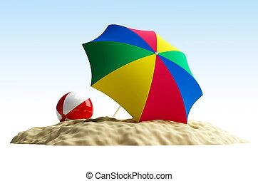 parapluie, balle, plage