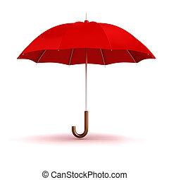 parapluie blanc, arrière-plan rouge, 3d