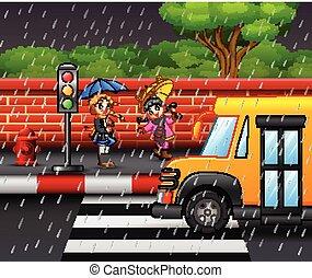parapluie, bord route, deux, pluie, porter, sous, girl, dessin animé