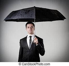 parapluie, business, tenue, homme