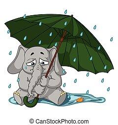 parapluie, cartoon., automne, character., isolé, elephants., vecteur, collection, pleurer, grand, sous, elephant., rain.