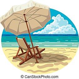 parapluie, chaise, plage