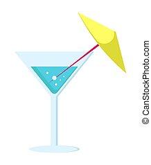 parapluie, cocktail, jambe, long, verre, margarita
