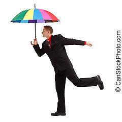 parapluie, coloré, homme