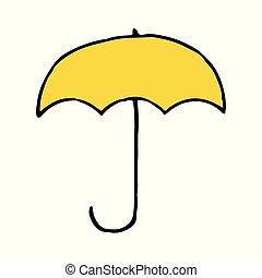 parapluie, contour, griffonnage, main, dessiné, icône