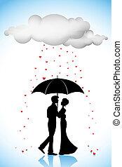 parapluie, couple, amour, pluie, sous