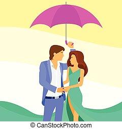 parapluie, couple, amour, romantique, sous