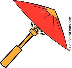 parapluie, dessin animé, asiatique, parasol, ou, rouges, icône