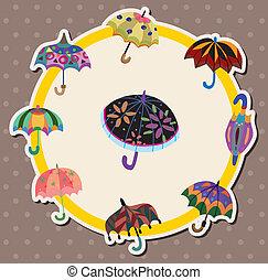 parapluie, dessin animé, carte