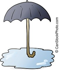 parapluie, dessin animé, mouillé
