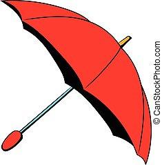 parapluie, dessin animé, rouges, icône