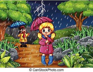 parapluie, deux, pluie, porter, forêt, sous, girl, dessin animé