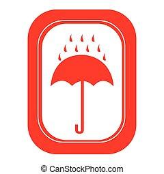 parapluie, emblème, rouges, pluie, icône