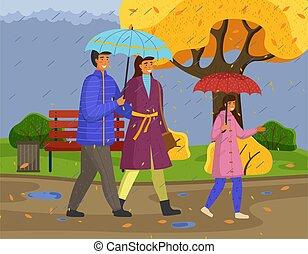 parapluie, famille, pluie, porter, imperméables, parc, ...