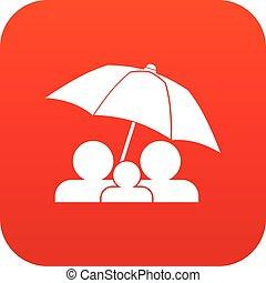 parapluie, famille, sous, numérique, rouges, icône