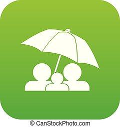 parapluie, famille, sous, vert, numérique, icône