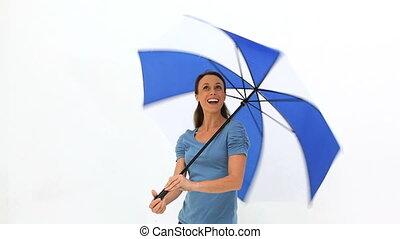 parapluie, femme, elle, tourner