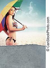 parapluie, femme, plage