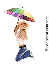 parapluie, femme, sauter