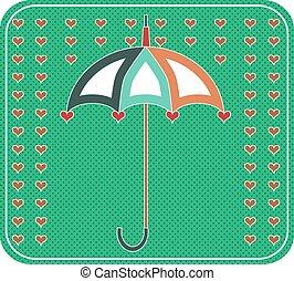 parapluie, fond, pointillé, jaune, retro, cœurs, conception, rouges