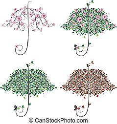 parapluie, forme, arbre