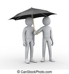parapluie, gens, noir, 3d, sous