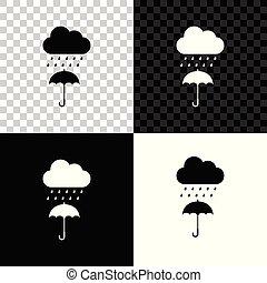 parapluie, goutte, isolé, pluie, arrière-plan., vecteur, illustration, noir, blanc, transparent, nuage, icône
